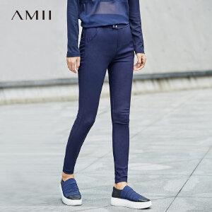 Amii简洁纽扣装饰九分裤女秋装新款修身休闲裤