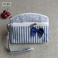 韩版可爱零钱包女士布艺小钱包迷你棉麻布料卡包帆布硬币袋钥匙包 深灰色 条纹
