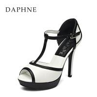 Daphne/达芙妮夏女鞋 时尚拼接细跟包脚凉鞋女鞋1015303353