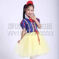 圣诞节女童白雪公主裙 春夏款短袖儿童礼服裙 迪士尼演出服花童婚纱
