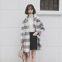 韩观秋冬新款韩版复古格子毛呢外套女宽松中长款加厚茧型百搭呢子大衣 灰白格