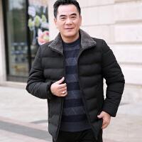 爸爸冬装中年男士休闲棉衣外套40-50岁中老年人冬季棉袄