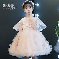 女童公主裙花童婚纱模特走秀蓬蓬纱小主持人晚礼服夏粉色儿童礼服
