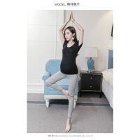 孕妇瑜伽服套装T恤带胸垫健身透气弹力高腰托腹裤套装短袖上衣女