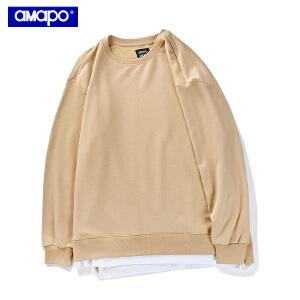 【限时抢购到手价:90元】AMAPO潮牌大码男装加肥加大宽松假两件长袖套头休闲加厚卫衣T恤男