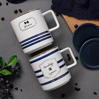 生日礼物情侣杯一对创意英伦陶瓷马克杯水杯ins北欧下午茶杯子咖啡杯带盖送女友送男友送朋友送女友