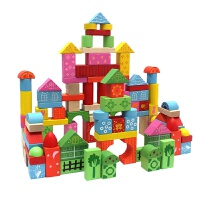 丹妮奇特 智慧乐园110粒彩色大块桶装积木儿童早教木制玩具
