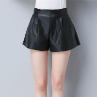 小个子女装0cm显高皮短裤女18外穿a字高腰阔腿裤显瘦靴裤
