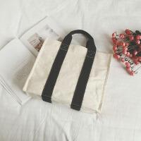休闲学生手提袋女潮韩版简约商务公文包文件包撞色时尚帆布购物袋