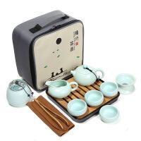 【品牌热卖】自动茶具套装旅行功夫整套便携式旅行青瓷茶具套装陶瓷茶具礼品 亚光、西施壶