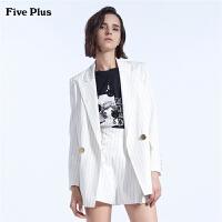 Five Plus女装bf条纹西装外套女中长款宽松长袖绑带收腰翻领