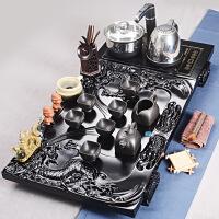 汝窑紫砂冰裂功夫茶具整套陶瓷茶具套装四合一电磁炉实木茶盘送长辈