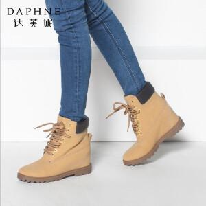 达芙妮女靴冬季内增高马丁靴女短靴高跟英伦风复古靴子系带短筒靴
