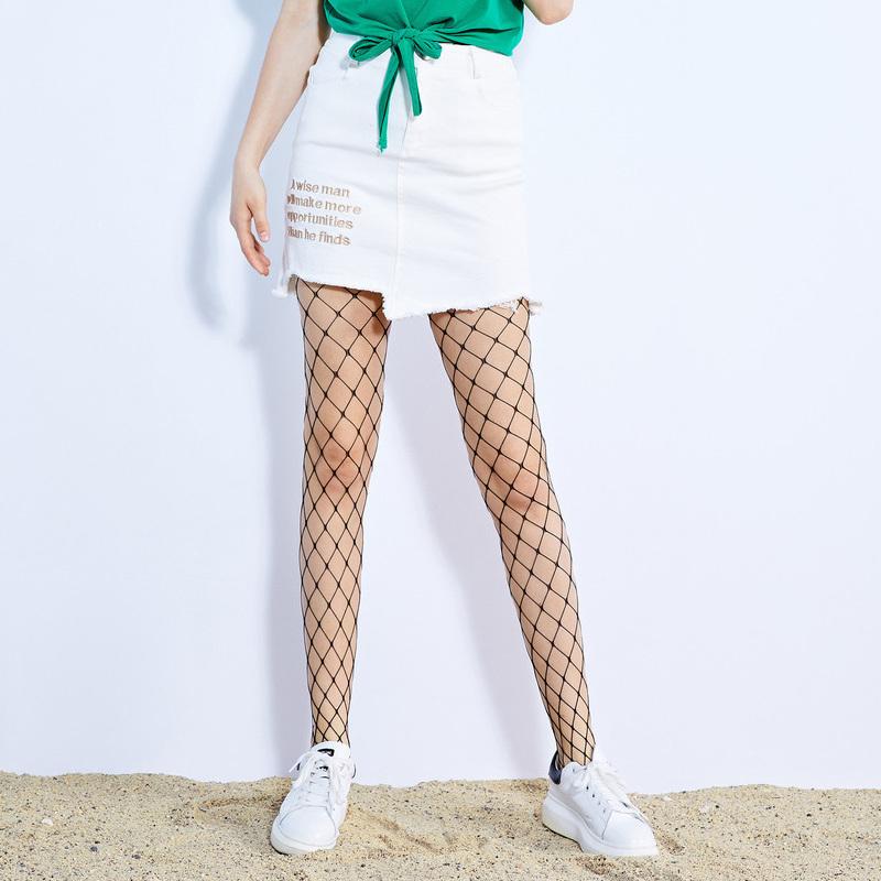 ZDORZI卓多姿夏装纯色绣花英文不规则牛仔半身裙734E203