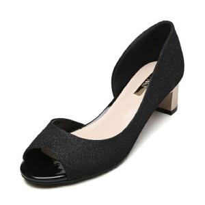 达芙妮旗下SHOEBOX/鞋柜春季浅口鱼嘴中粗跟套脚简约女单鞋