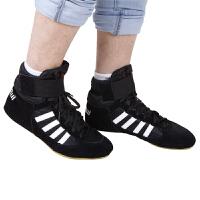 拳击鞋男低帮散打鞋高帮格斗训练鞋摔跤鞋跤靴长靴拳击鞋 低帮黑色/白边