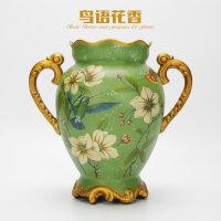 美式乡村陶瓷花瓶客厅装饰品摆件欧式家居仿真花干花插花花器花艺