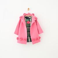 GY10263-冬季新款童装女童花朵呢外套+格子加绒背心连衣裙