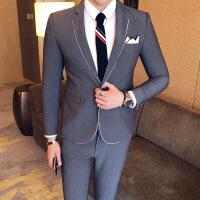 秋装新款英伦商务西装男外套韩版男士休闲西服男装新郎礼服青年 48 M