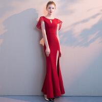 新娘敬酒服2018新款红色高贵优雅性感长款鱼尾宴会晚礼服女夏秋季