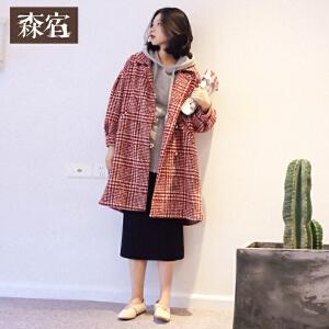 森宿W格纹至上冬装新款文艺格纹腰带长款灯笼袖毛呢外套女