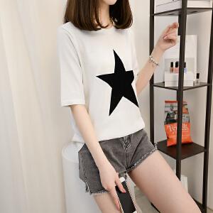 女装2018新款潮春夏新款韩版上衣五角星圆领修身清凉短袖T恤显瘦