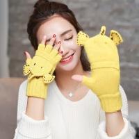 韩版秋冬季学生露指写字女可爱卡通大象毛线半指翻盖手套冬天针织