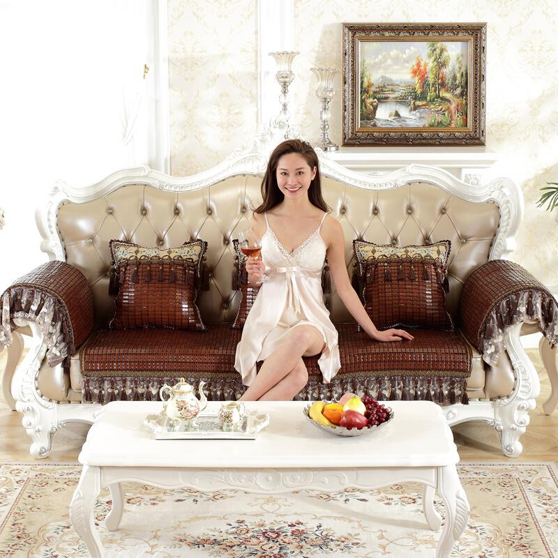 沙发垫夏季麻将凉席坐垫夏天客厅贵妃冰丝竹席凉垫子定做 -双牛筋  新款欧式  吊穗蕾丝垂边沙发垫