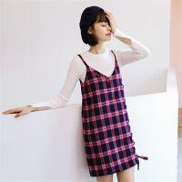 18春季新款 新款V领 格子学院风吊带裙时尚风个性连衣裙