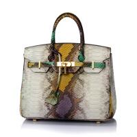 七夕礼物新款蛇纹铂金包真皮女包牛皮单肩斜跨时尚女士大包手提包 30#绿色