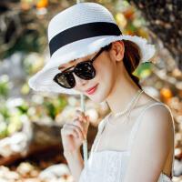 帽子女夏天韩版百搭礼帽防晒遮阳帽渔夫帽可折叠太阳帽草帽沙滩帽