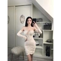 连衣裙秋冬季女2018新款时尚韩版气质长袖一字领包臀显瘦紧身裙子