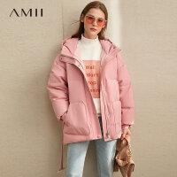 【到手价:544元】Amii极简温暖时尚气质羽绒服女2019冬季新款90绒连帽配腰带上衣