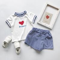 夏季套装宝宝爱心短袖上衣加短裤裙裤儿童两件套