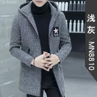 男士外套冬季呢子大衣男中长款青年毛呢风衣短款韩版修身连帽妮子