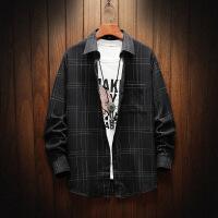 男新款韩版格子长袖衬衫格子潮流帅气青少年学生休闲衬衣男寸衣