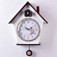 田园布谷鸟时钟咕咕钟 光控感应报木制钟表创意客厅可爱挂钟 14英寸