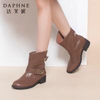 Daphne/达芙妮正品女靴 冬款保暖靴子低跟金属装饰中筒女靴短靴