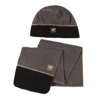 探路者秋冬户外男女通用帽子和围巾保暖抓绒套装KELE90401 均码