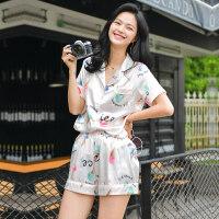 睡衣女丝绸两件套装薄款韩版宽松性感情侣家居服夏天冰丝 亮肤色 冰激凌