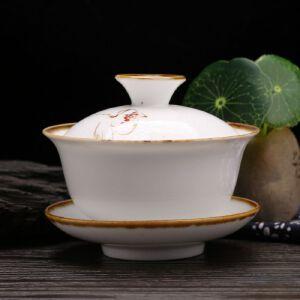 德化瓷器 莲花盖碗