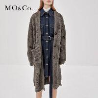 MOCO秋季新品V领纽扣针织开襟羊毛外套MA183CAR309 摩安珂