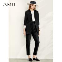Amii极简时尚洋气西装套装女2020秋新款西装外套直筒九分裤两件套