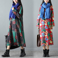实拍秋装新款韩版大码女装文艺印花连衣裙长袖宽松中长裙子
