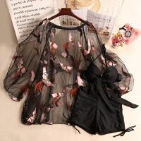 泳衣女三件套韩小香风罩衫分体裙式性感比基尼小胸聚拢遮肚显瘦