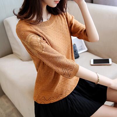 春季韩版宽松显瘦女装蕾丝针织衫圆领中袖打底衫百搭套头毛衣夏