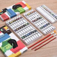 马利牌丙烯颜料初学者24色学生石头画鹅卵石彩绘套装12色马力纺织炳稀涂鸦36色儿童diy手绘无毒