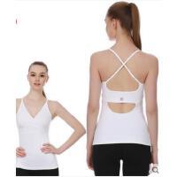 专业瑜伽服背心带胸垫锦纶后背镂空弹力修身吊带女跑步运动健身服