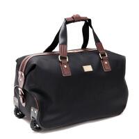 男折叠手提旅行包拉杆包女商务大容量旅行袋行李包健身旅游包 黑色