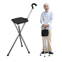 户外老人家拐杖椅子老人拐�E��凳子登山杖防滑超轻多功能折叠手杖